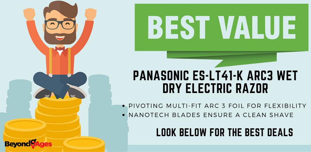 The Panasonic ES-LT41-K ARC3 Wet Dry Electric Razor is the best value electric razor for sensitive skin