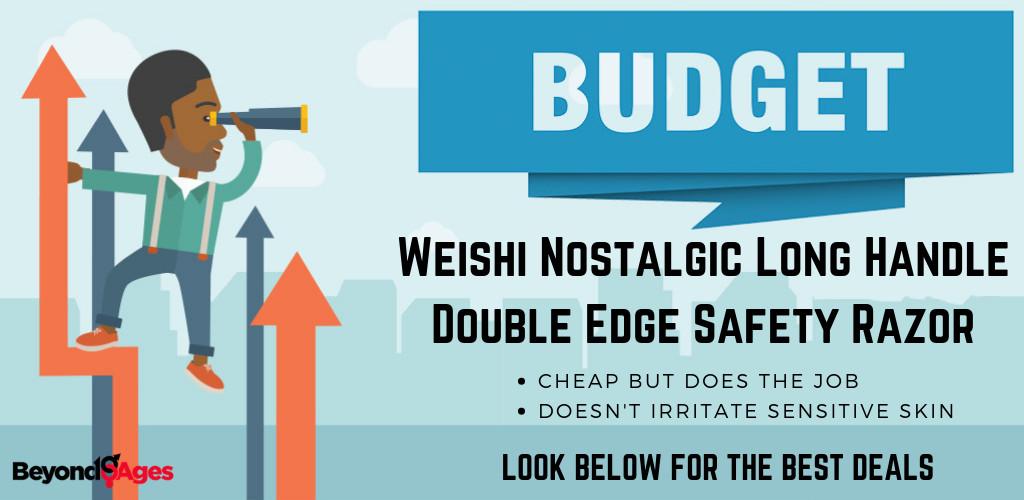 WEISHI Nostalgic Long Handle Double Edge Safety Razor is the best budget safety razor for sensitive skin