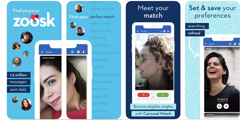 In-app Zoosk screenshots