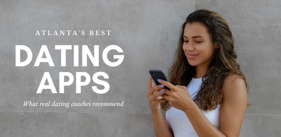 Pretty young woman using the best dating apps in Atlanta while outdoors
