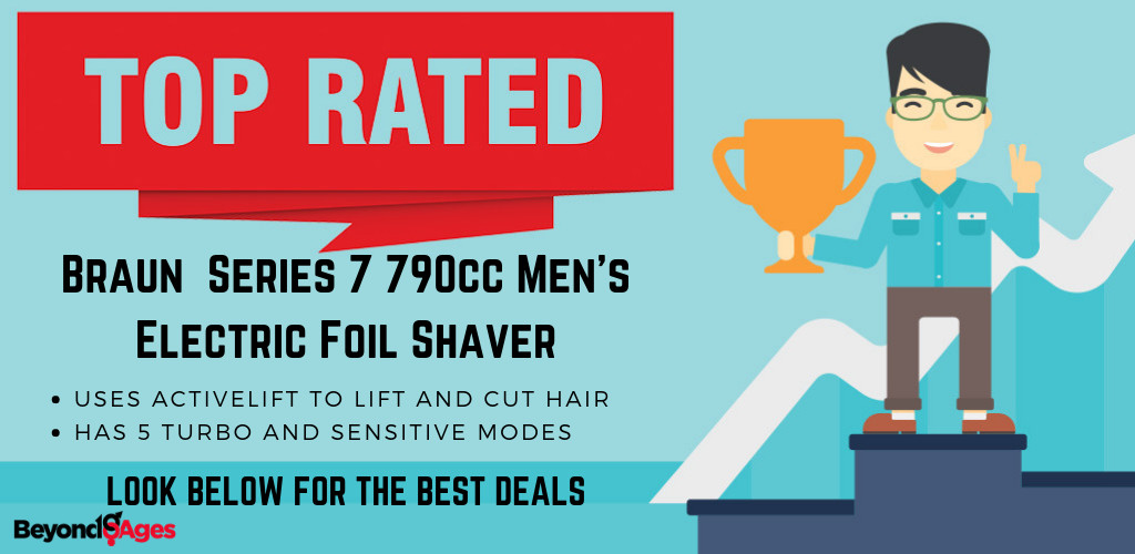 The Braun Electric Shaver, Series 7 790cc Men's Electric Foil Shaver is the Top rated men's razor for black men with sensitive skin