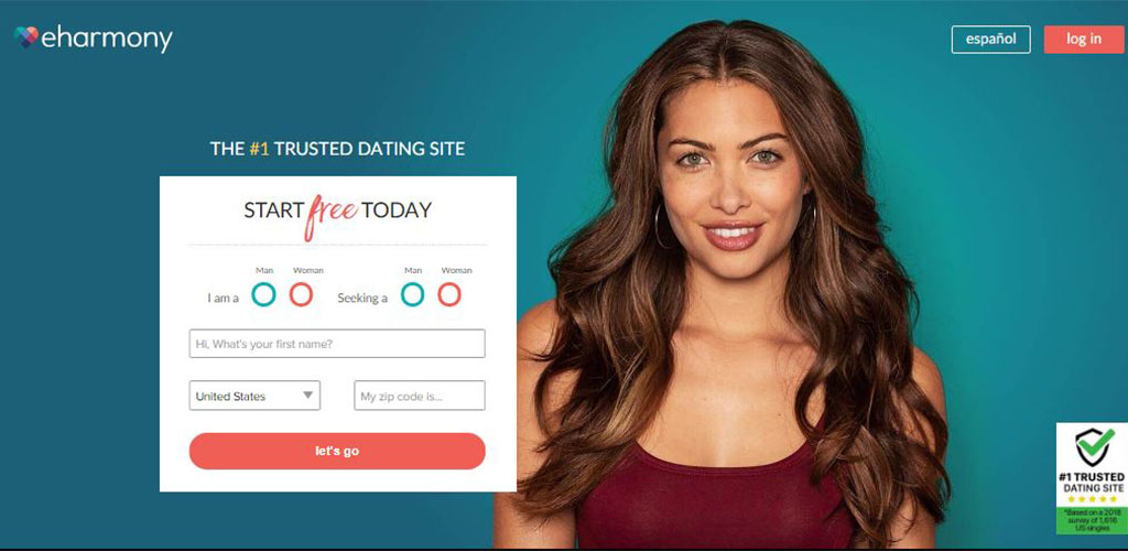 Homepage for eharmony dating app