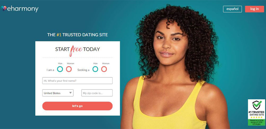 Dating app eHarmony homepage