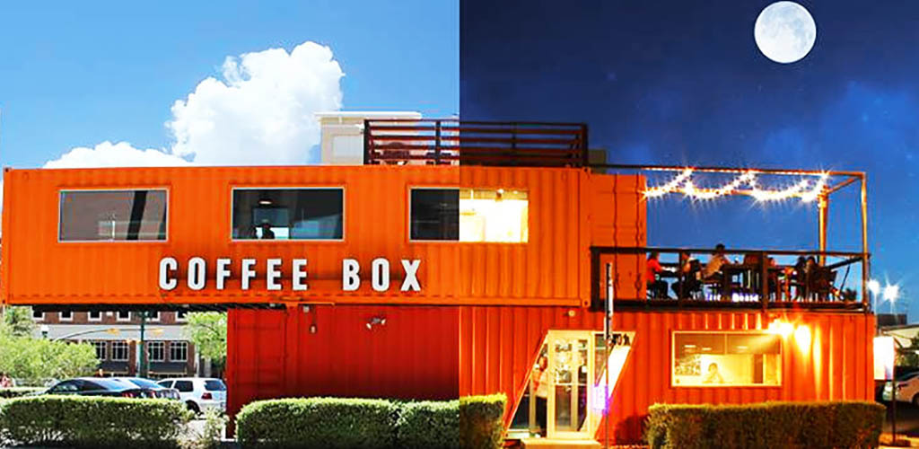 Coffee Box during the day and night