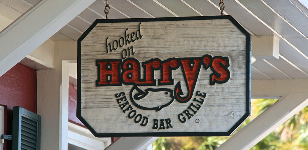 Sign outside of Harry's Seafood Bar & Grille