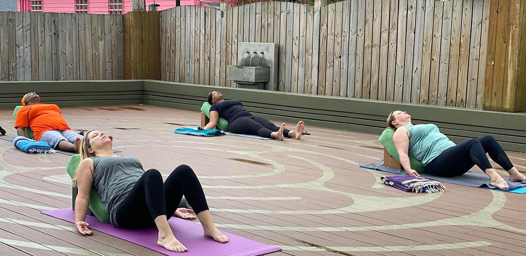 An outdoor class at Better Bodies Yoga