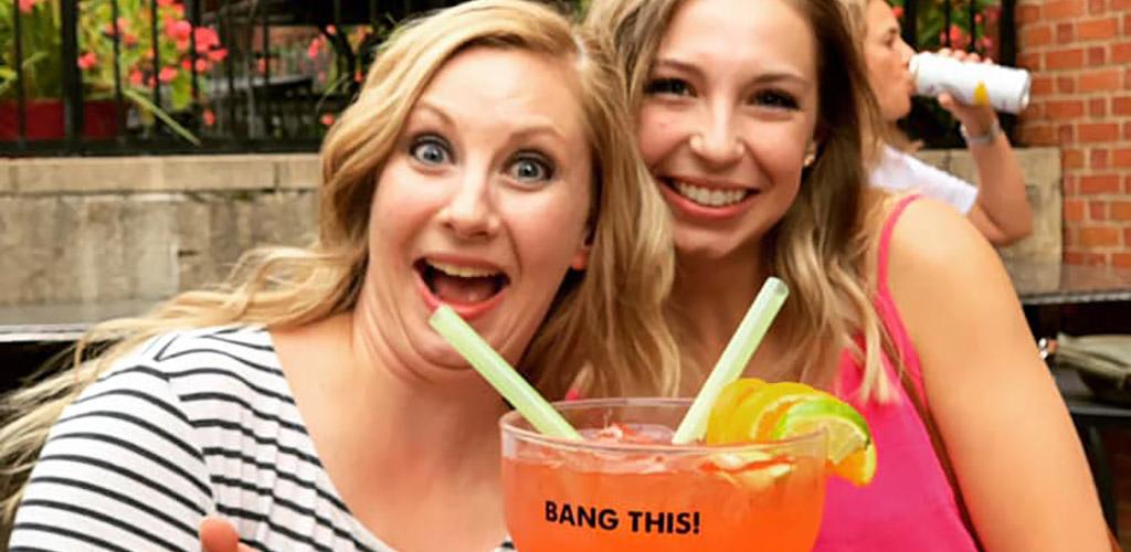 BBW in Columbus enjoying a huge cocktail from Big Bang
