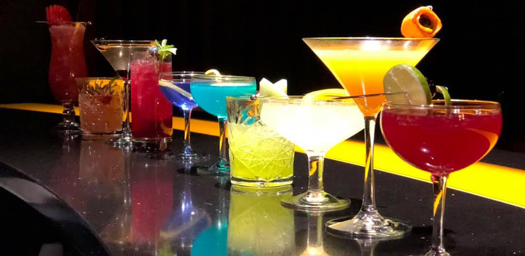 A row of cocktails from Motif Jazz Cafe