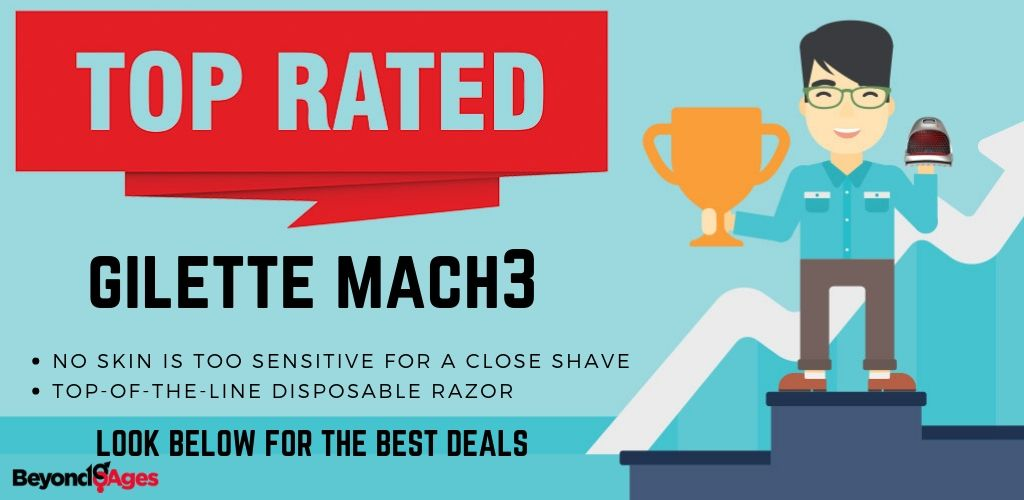 Gilette Mach 3 is the top rated Disposable Razor for Sensitive Skin
