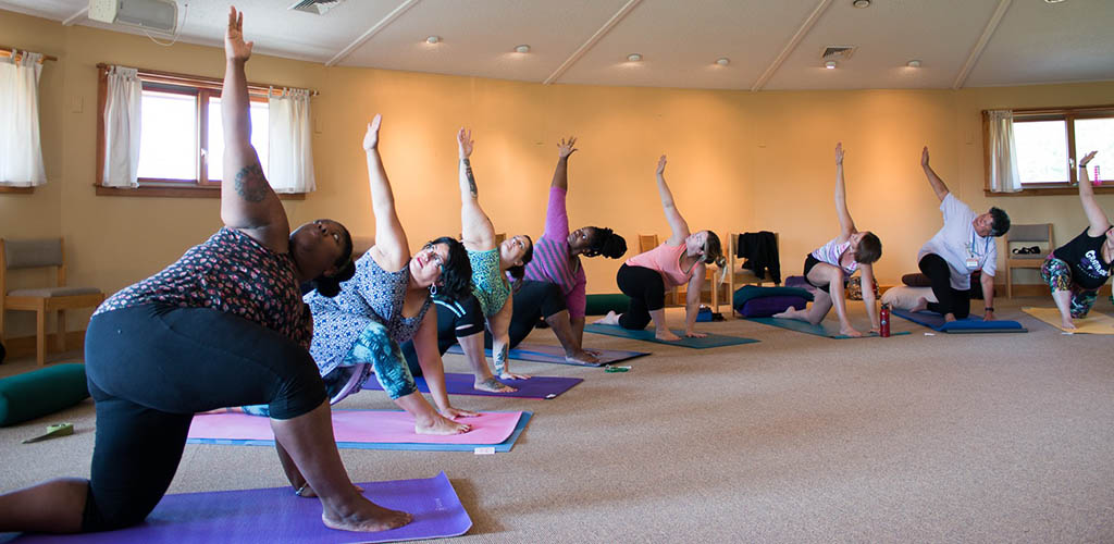 BBW in San Francisco in a yoga class at Body Positive Yoga