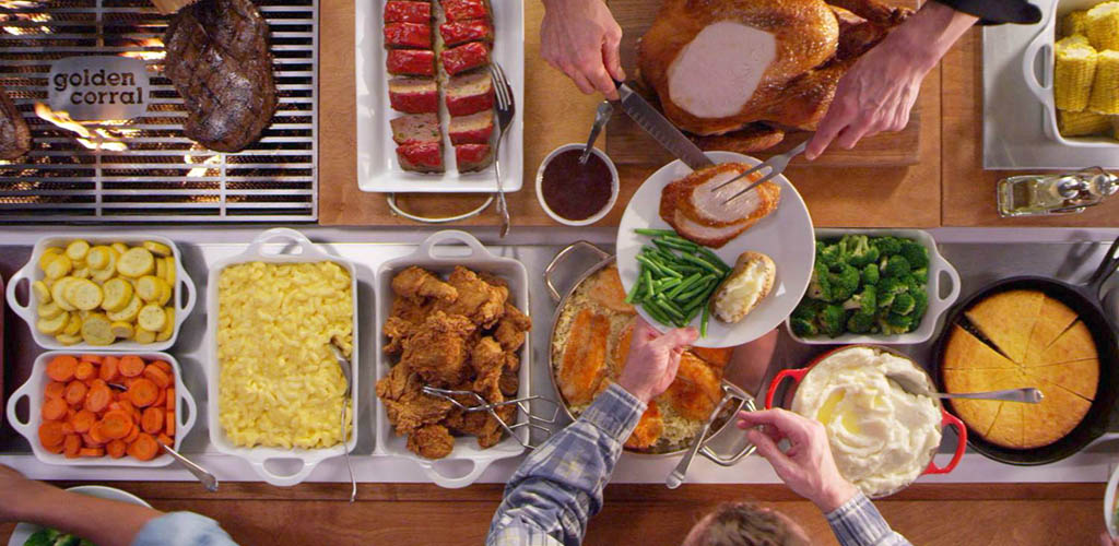 Top view of the buffet table at Golden Corral