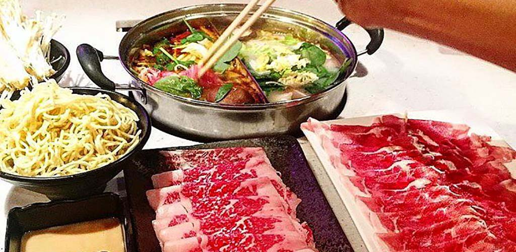 A hotpot bowl at Heat Shabu