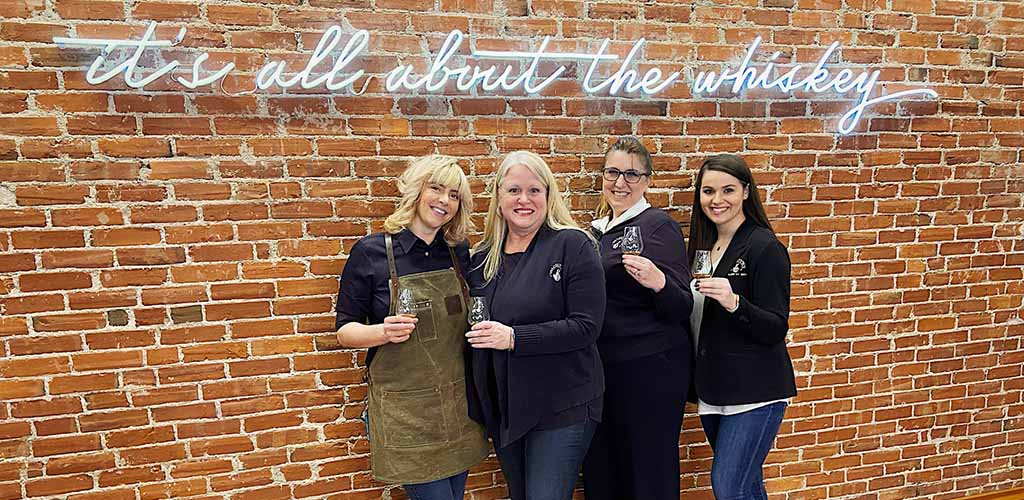 Lovely ladies enjoying some whiskey at Michter's Fort Nelson Distillery