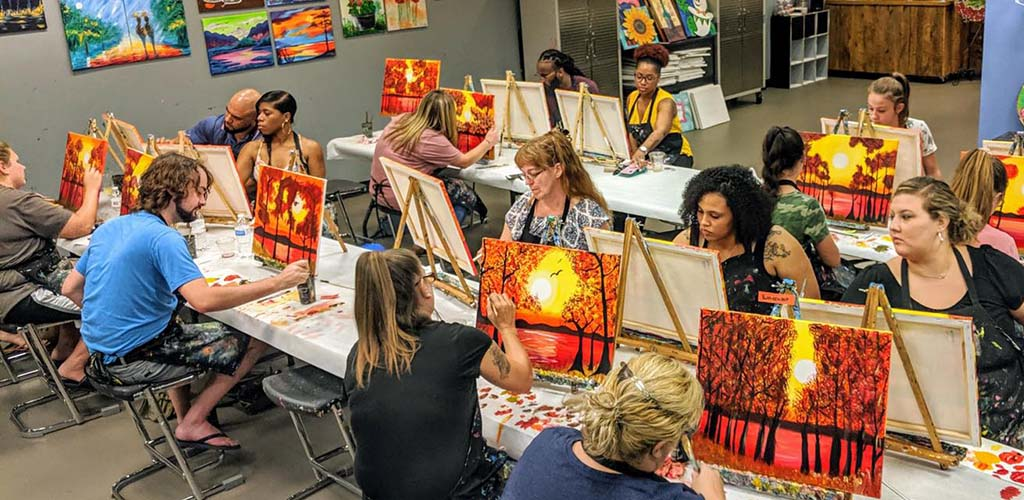 A painting class at Uptown Art with BBW in Louisville