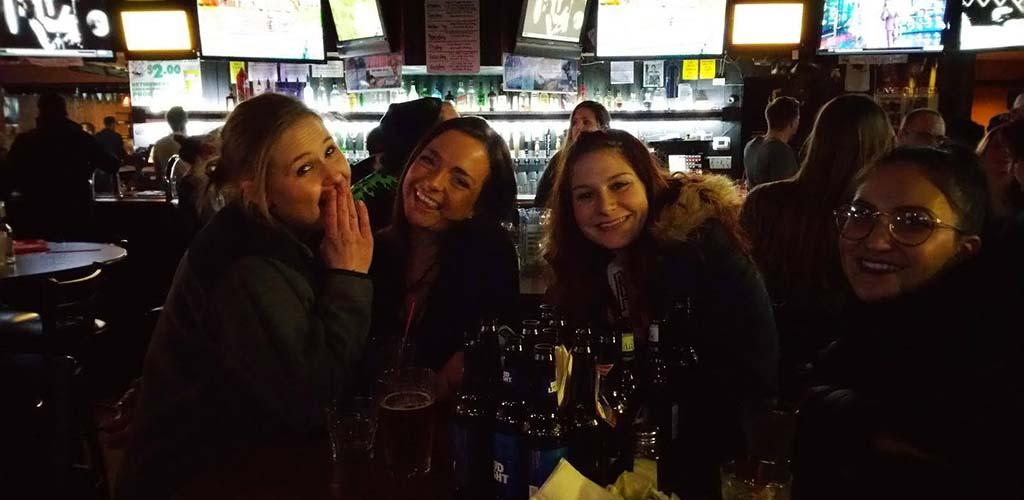 Girls drinking beers at Bier Stube