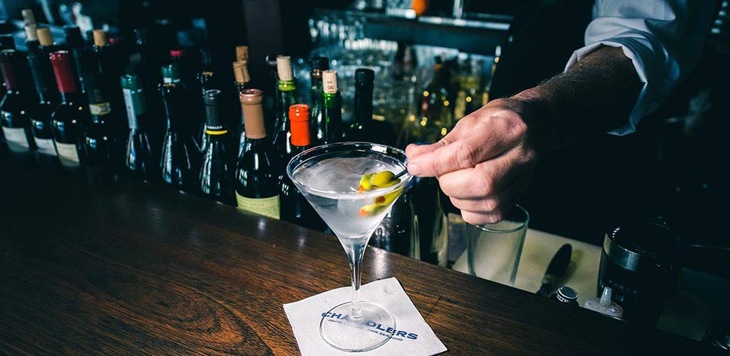 Chandlers Steakhouse and Seafood bar with a martini