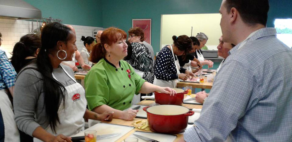 Curvy ladies in a class at Chef Tech Cooking School