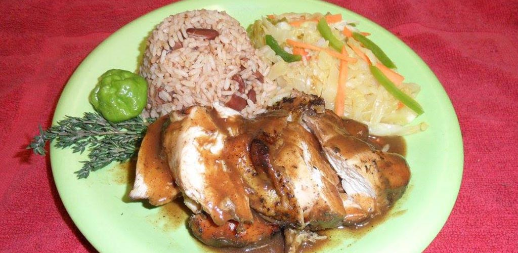 Jerk chicken with rice and veggies from Island Grocery and Caribbean Restaurant