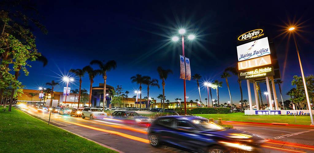 Marina Pacifica Mall at night