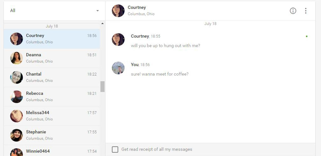 How messaging goes on this site