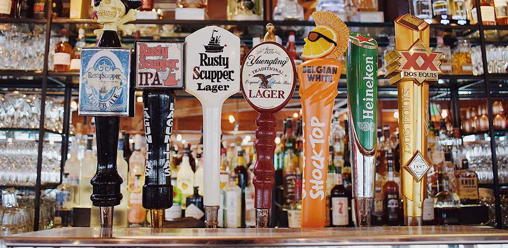 Beer taps at The Rusty Scupper