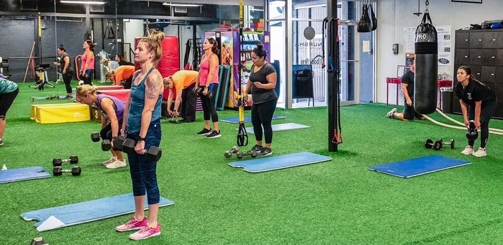 A workout class at Inursha Fitness