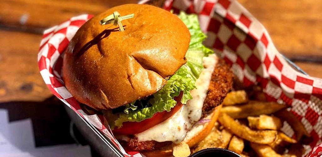A burger and fries from Kelly Pub