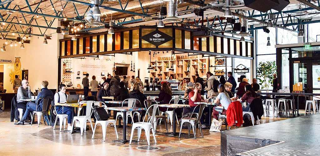 The beautiful interiors of La Marzocco Cafe