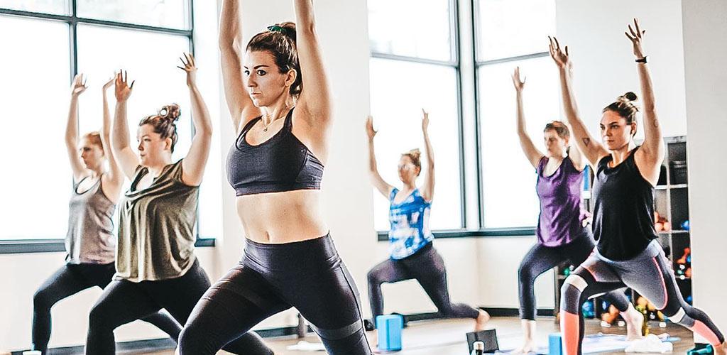 A yoga class at Live Love Flow Yoga Studio