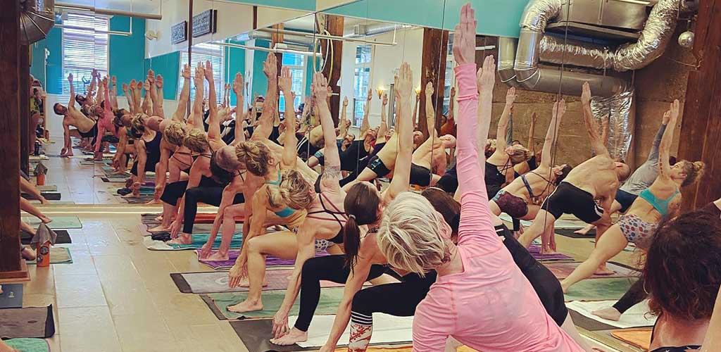 A class at Minneapolis Yoga