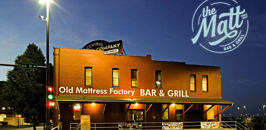 The brick exterior of The Old Mattress Factory Bar and Grill