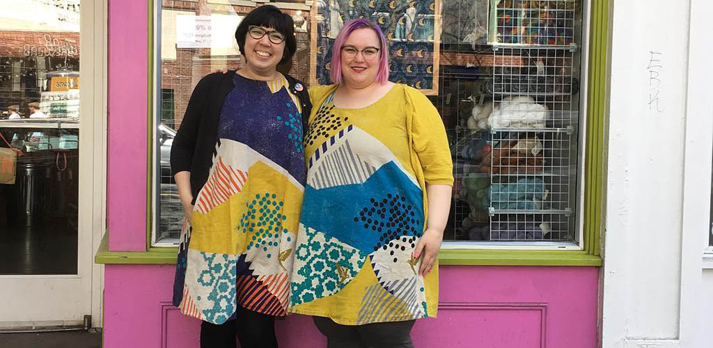 BBW in Seattle showing off the dresses they made at Stitches