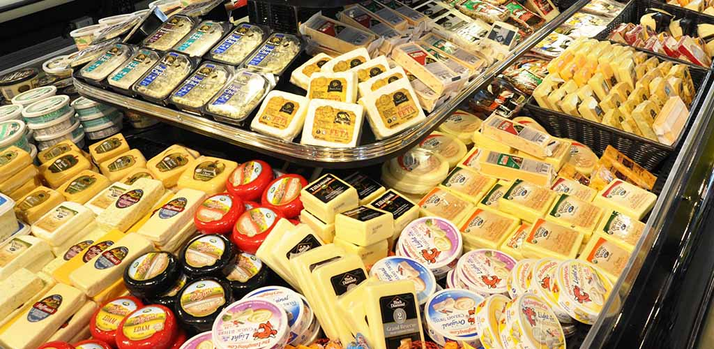 A huge selection of cheeses from Streets Market Cafe