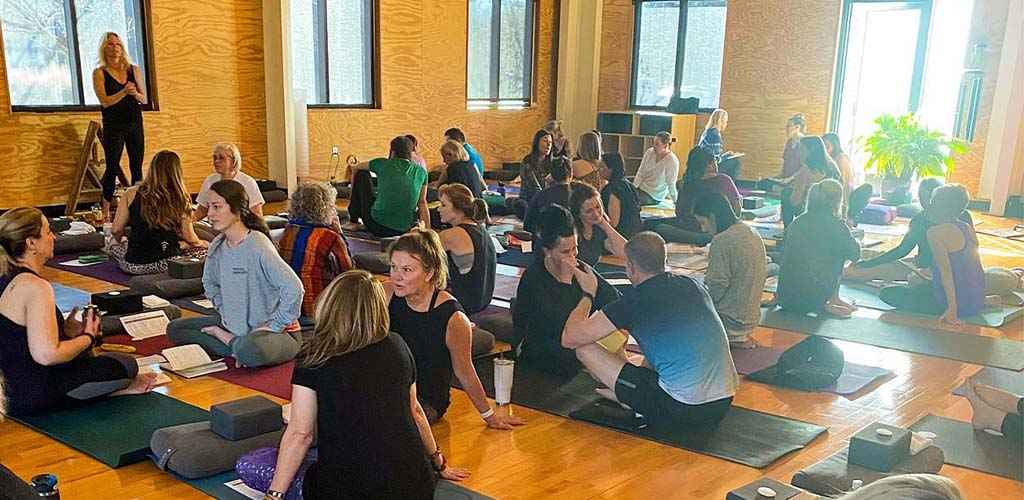 Before a class at The Sanctuary Yoga Room