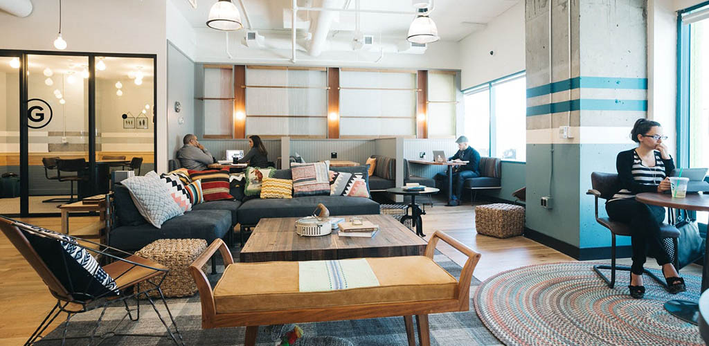 The spacious interior of WeWork Coworking Spaces