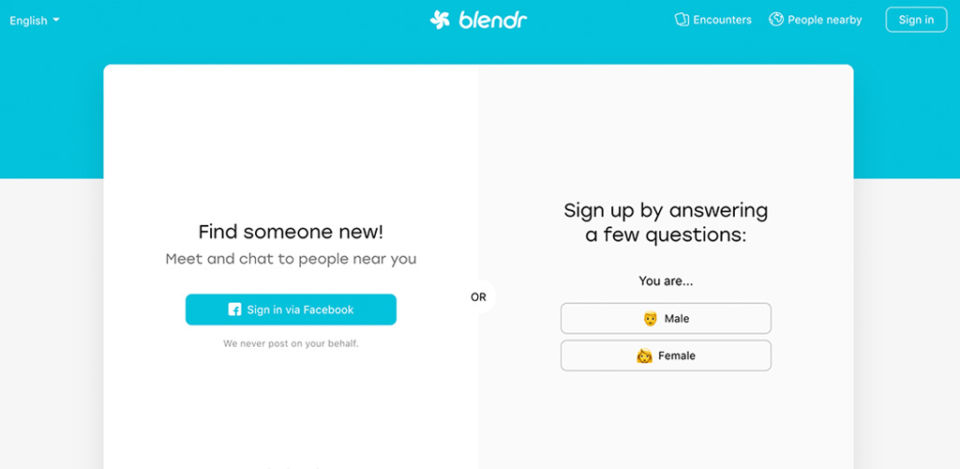 Blendr home page