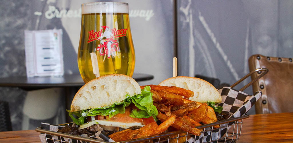 A burger and beer from Central City Brewing