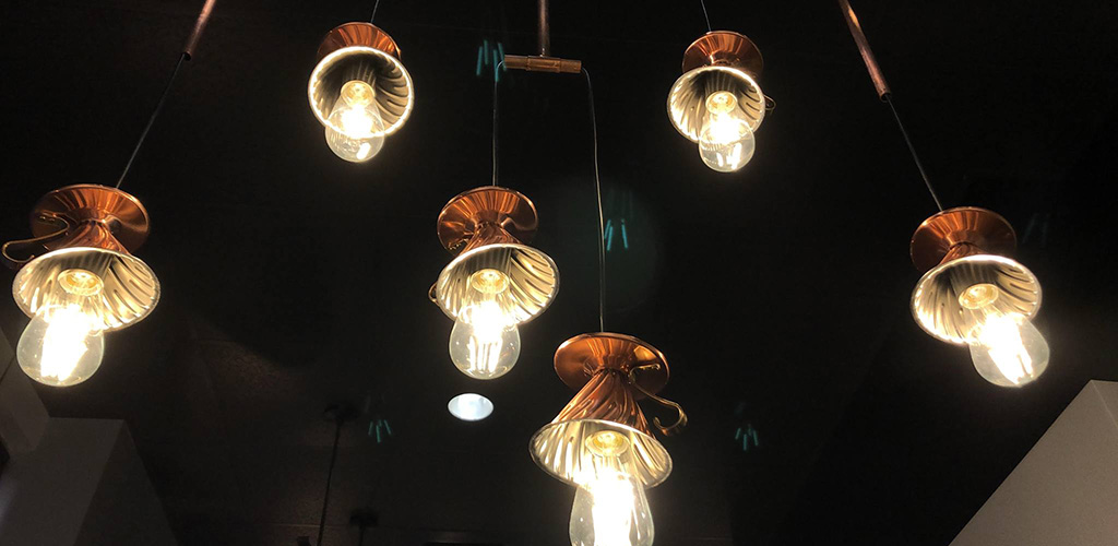 Lighting decor made with ceramic coffee drippers from Empresso