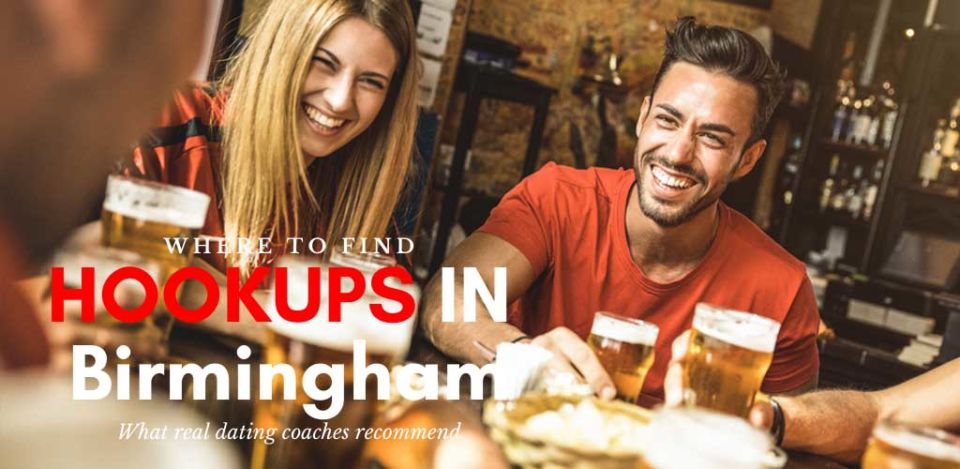 Friends at a pub looking for hookups in Birmingham