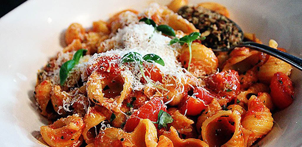 A pasta dish made with ingredients from Gust Gallucci's