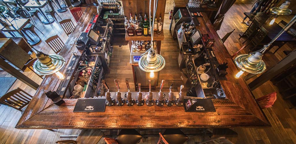 Top view of the bar at Lowertown Brewery