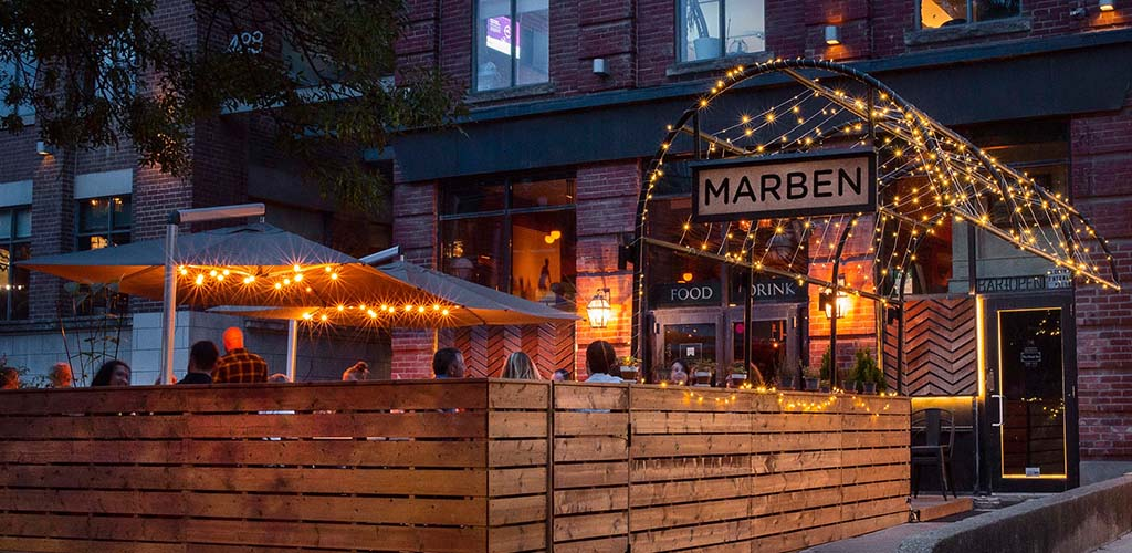 The well-lit patio of Marben