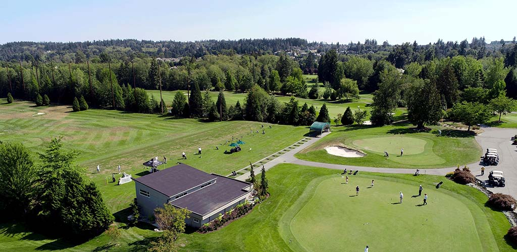 Aerial view of the Morgan Creek Golf Course where you can find Surrey hookups