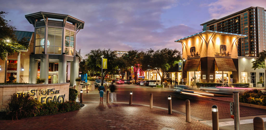 The Shops at Legacy at night