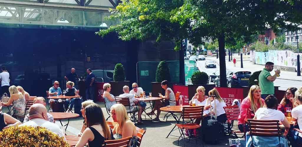 The sunny patio of The Sheffield Tap