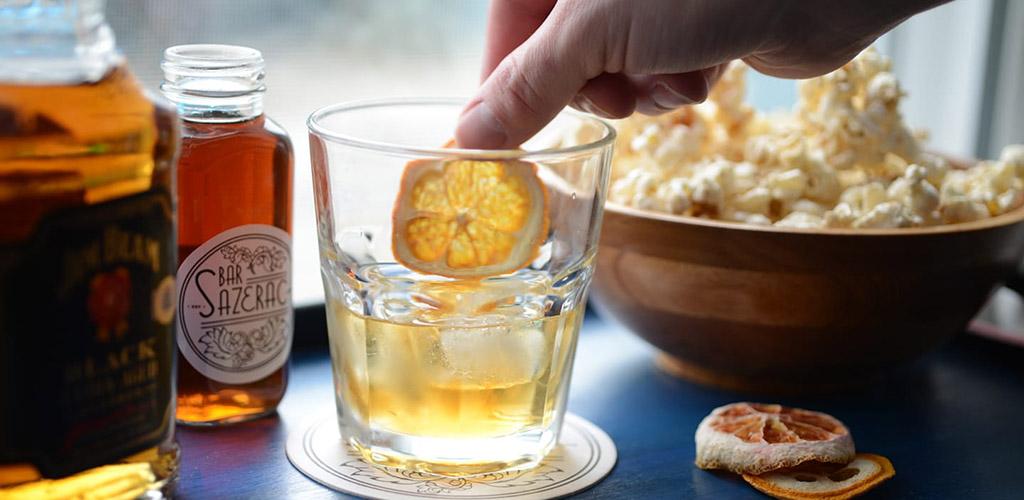 A lemony cocktail with popcorn from Bar Sazerac