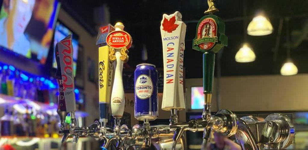 Beer tap handles at Ellen's Bar and Grill