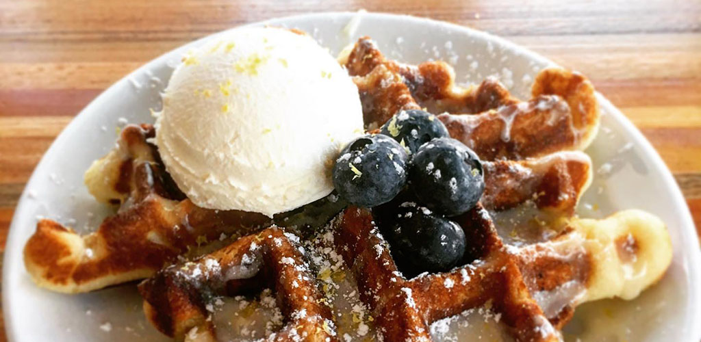 Blueberry waffles from The Farmacy