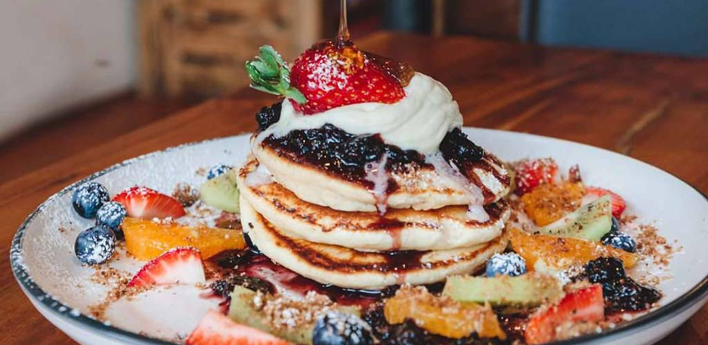 Fruit pancakes from Halo Espresso