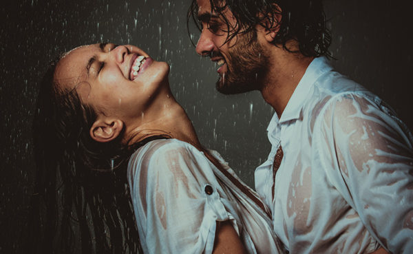 sensual couple in rain after learning how to get a girl wet